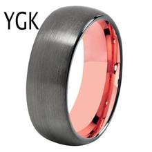 ใหม่แฟชั่นแหวนผู้หญิงผู้ชายคลาสสิกหมั้นแหวนคนรักแหวนอินเทรนด์แหวนทังสเตน Gunmetal Rose gold
