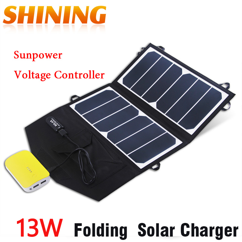 US $39 99 |Portable Solar Charger 13W Sunpower Foldable Solar Panel USB  Output Waterproof Solar Rechargeable Folding Bag for Iphone/Ipad-in Solar