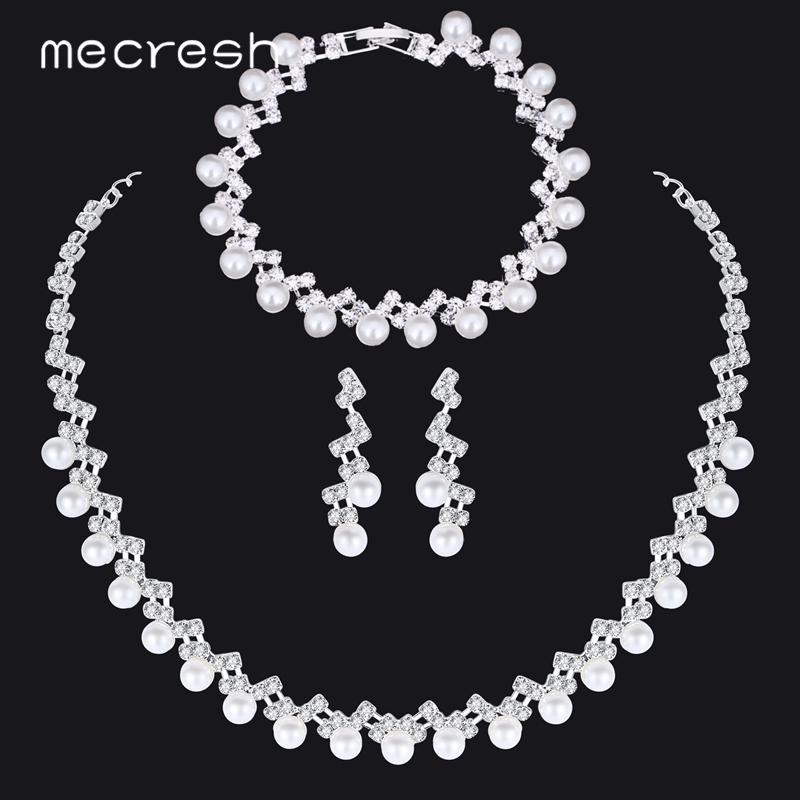 Mecresh Simple Simulated Pearl Bridal Jewelry Sets Silver Color Crystal Wedding Necklace Sets Jewelry Christmas Gift TL347+SL141(China)