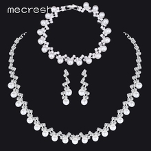 Mecresh Simple Simulated Pearl Bridal Jewelry Sets Silver Color Crystal Wedding Necklace Christmas Gift TL347+SL141