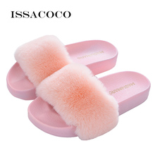 ISSACOCO Women Flat Solid Furry Slippers Real Rabbit Fur Non-slip Plush Fashion Fluffy Flock Indoor