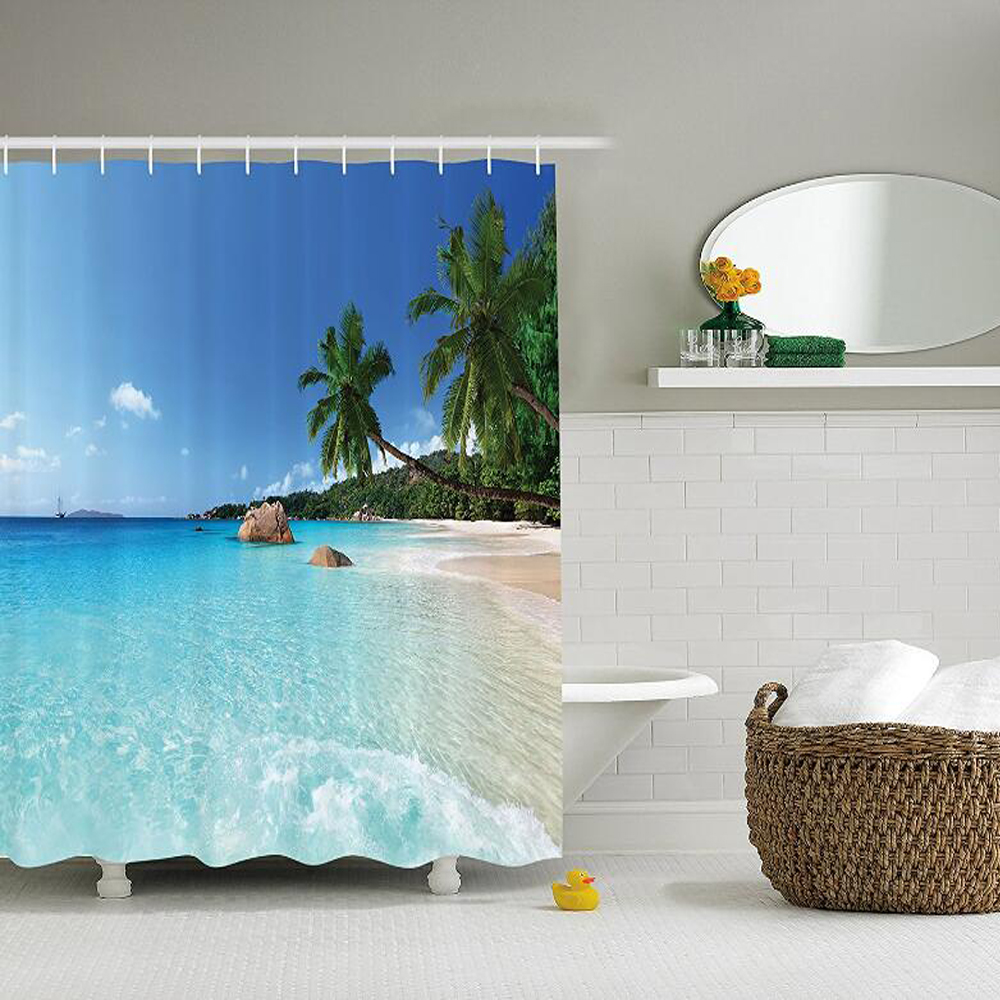 Beach Shower Curtain Set Ocean Decor, Tropical Anse Lazio Beach at Praslin Island and Su ...