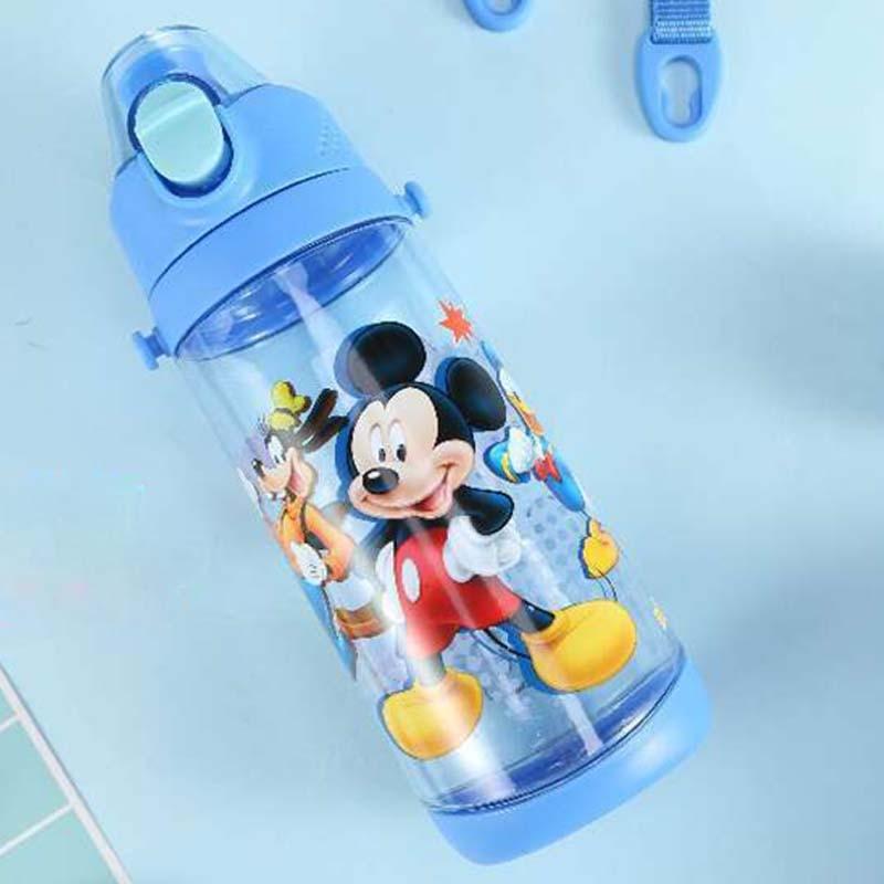 600ml Water Bottle Kids Tritan Plastic Sport Water Bottle With Rope Straight Drinking Press Button Cartoon Kettle