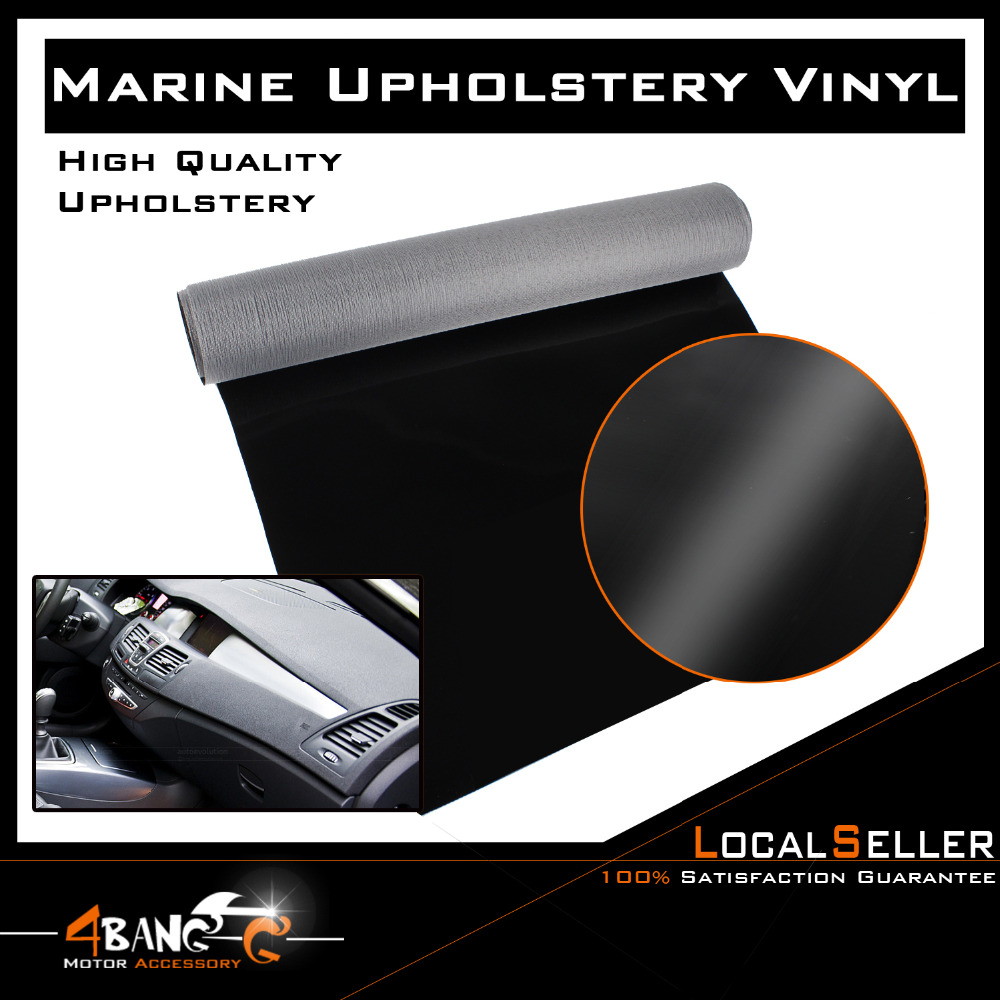 36 x 54 92cm x 139cm PU Waterproof Marine Leather Fabric Vinyl Upholstery Furniture Gloss Face Black