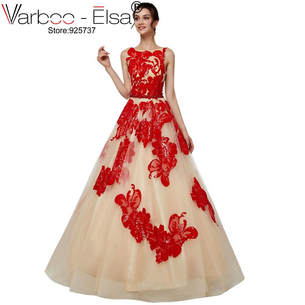 VARBOO_ELSA Mode Nouvelle Dentelle À Paillettes rouge Fleur A-ligne Robe de Soirée Vintage Dos Nu Appliques long Prom Party Formelle Robes