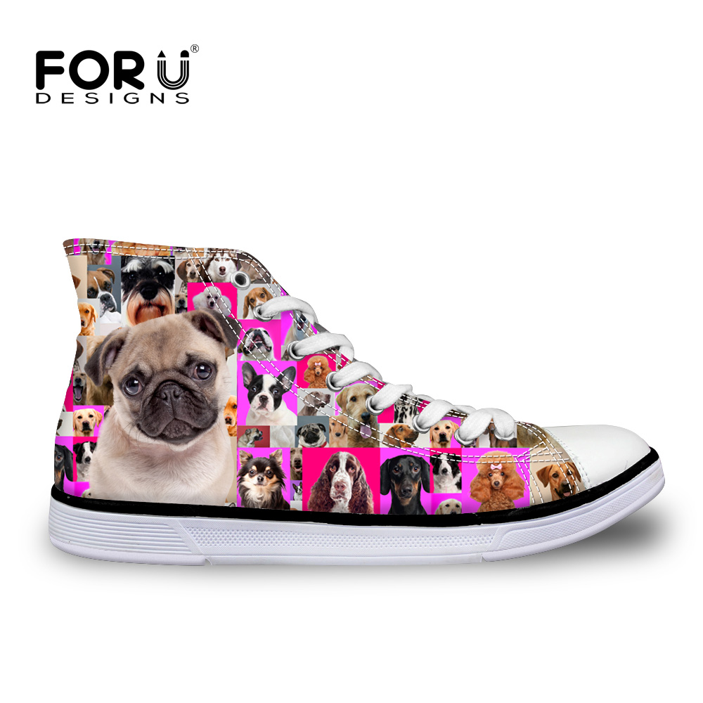 Women High Top Canvas Shoes Animal Pug Dog Poodle Rottweiler Print Flat  Shoes Women Casual Shoes Female Sport Breathable Shoes-in Women s Vulcanize  Shoes ... accd95d632b2