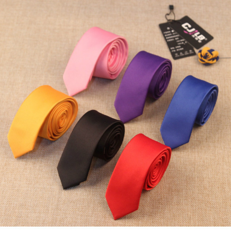 Mens  High-end Business Ties Necktie Skinny Slim 5cm Solid Korean Fashion Designers For Men Wedding Red Black 50pcs/lot Fedex