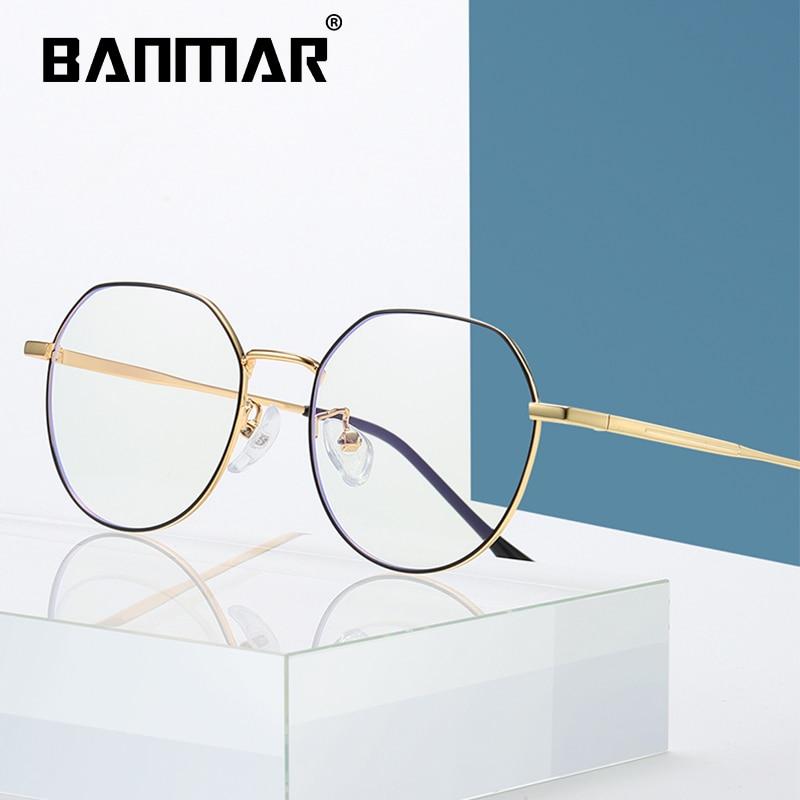 BANMAR Round Metal Blue Light Eyeglasses Frame For Women Men Anti-radiation Anti-fatigue Computer Reading Anti Ray Glasses