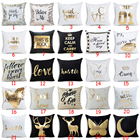 Letter Geometric Bronzing Cushion Cover Deer Love Cotton Polyester Bohemian Printed Home Decorative Pillows Cover Moon Kiss you