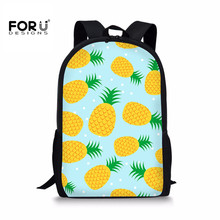 FORUDESIGNS Girls Children Satchel Pineapple Printing Primary Student School Bag Notebook Book Bags Teenagers Schoolbag for Kids цена