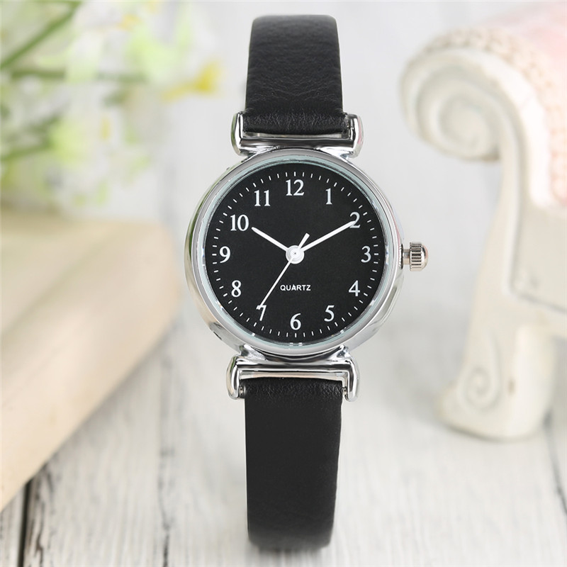 Fashion Casual Digital Dial Wrist Watch Modern Women Green Red Leather Band Strap Pin Buckle Simple Quartz Watches Gift Bag fashion dress watch elegant crystal dial red faux leather band strap blink quartz analog casual lady women wrist watch stylish