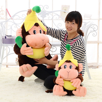 Candice guo plush toy stuffed doll cartoon animal model monkey dress banana hat hug baby birthday gift kid christmas present 1pc