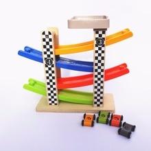 Track Car Toys Zweefvliegen Auto's Racebaan Speelset Kids Houten Switchback Slider Ladder Slot 4 levels Mega Ramp Autorace Games