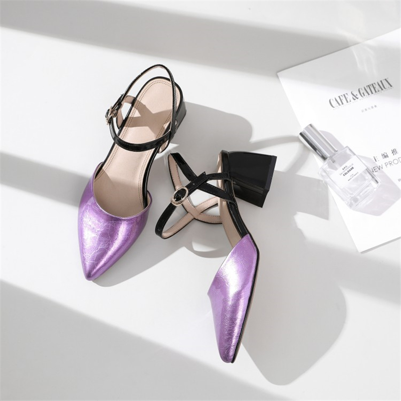 MSSTOR Mixed Colors Women Sandals 2019 Purple Sexy Buckle Strap Pointed Toe Party Womens Summer Shoes Thick Heel Silver Sandals