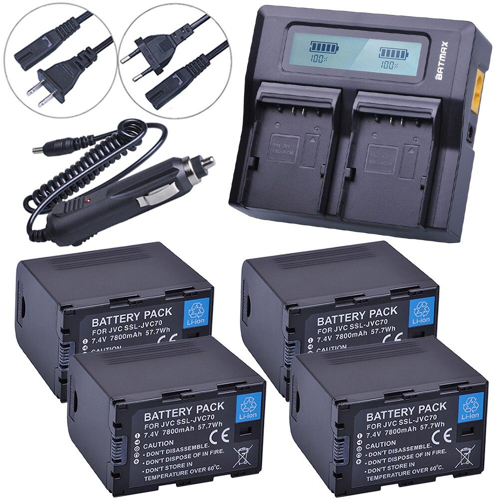 4 pcs SSL JVC70 SSL-JVC70 JVC50 Bateria com Saída USB + LCD Rápido Dual Carregador para JVC GY-HM600, GY-HM650, GY-HMQ10, GY-LS300