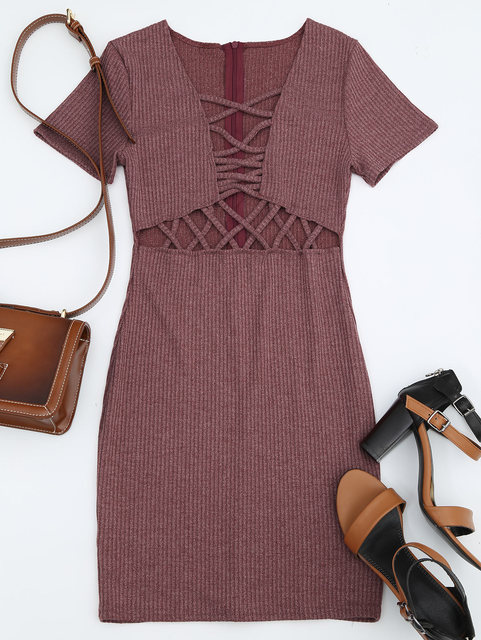 7a99ee3673 STYLE Cut Out Criss Cross Plunge Knitted Dress Women Sexy Chest Hollow Out  Lace Up Bodycon Dress Party Club Wear Slim Dress