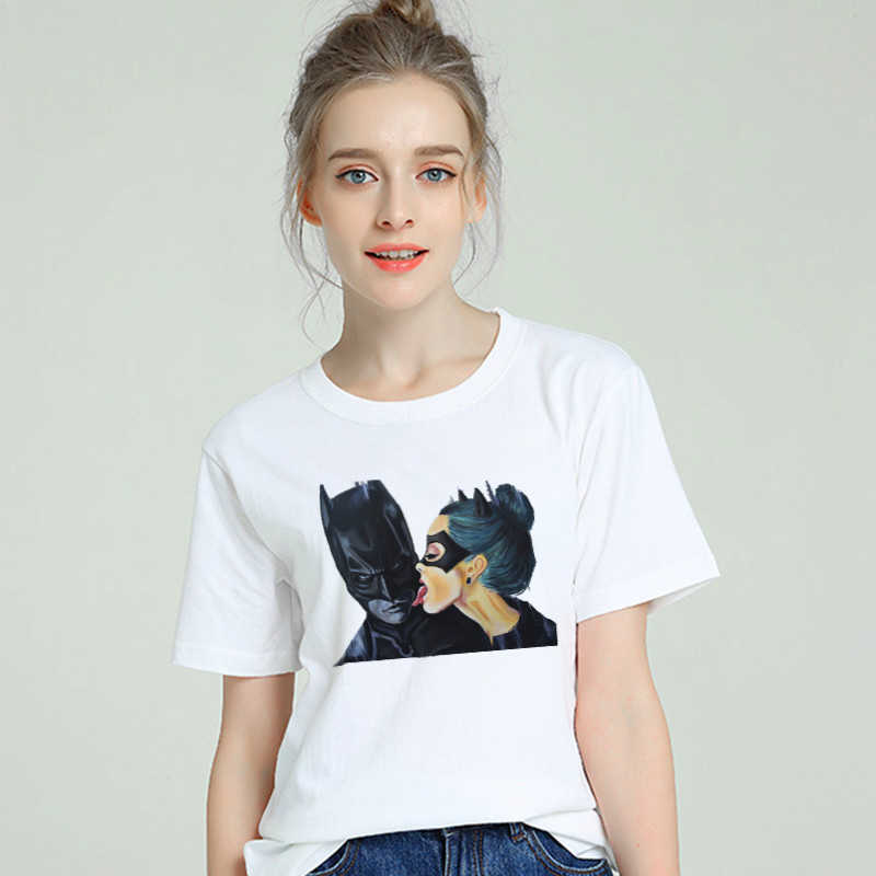 2019 Summer Funny Tops Anime Cartoon Batman and Catwoman T Shirt Women Cool Tee Female t-shirt Clothing hipster Kiss tshirt