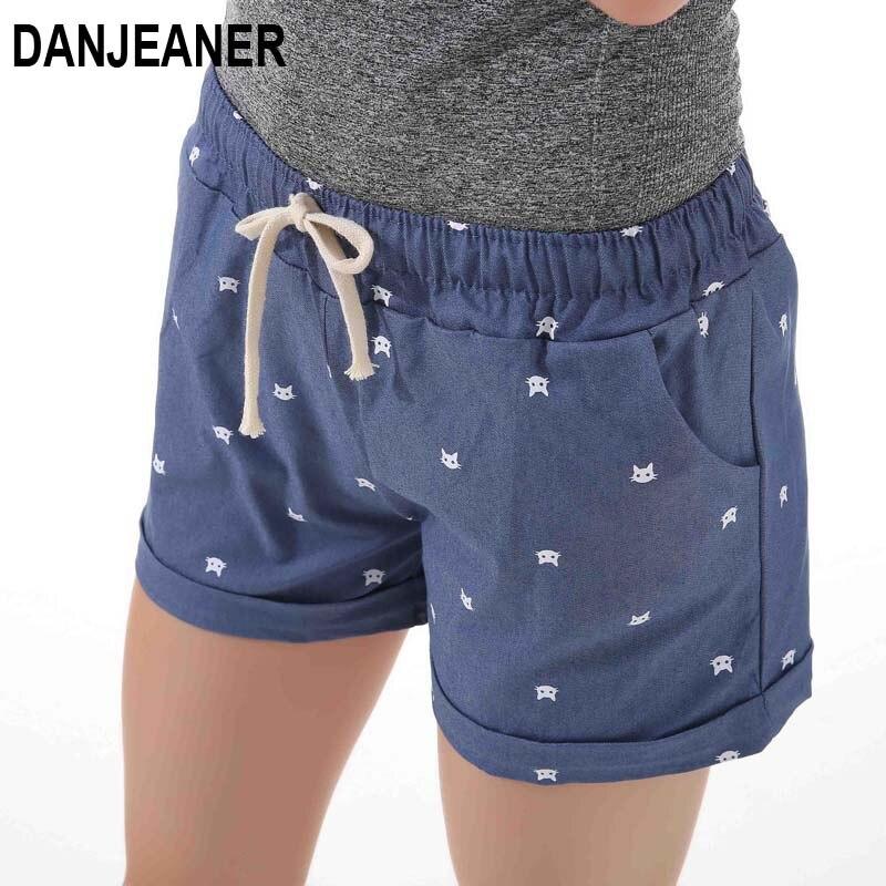 DANJEANER 2018 verano Mujeres Casa casual cintura elástica algodón pantalones cortos estampados gato bombeo auto-cultivo pantalones cortos dulces