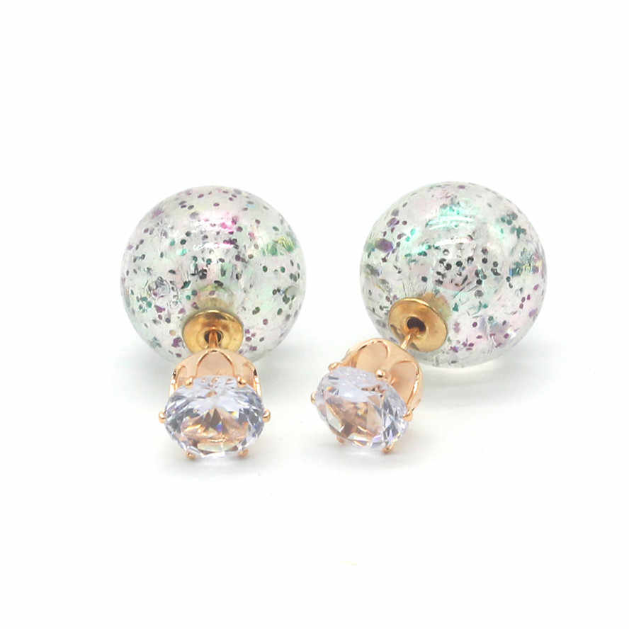 Fashion Jewelry Korean Colorful Double Sides Pearl Earring Luxurious Stringy Gold Big Ball Crown Crystal Stud Earrings For Women