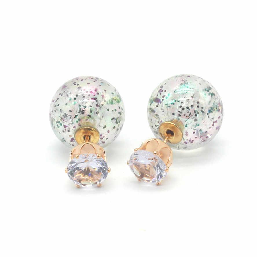 Moda jóias coreano colorido lados duplos pérola brinco luxo stringy ouro grande bola coroa de cristal brincos para mulher