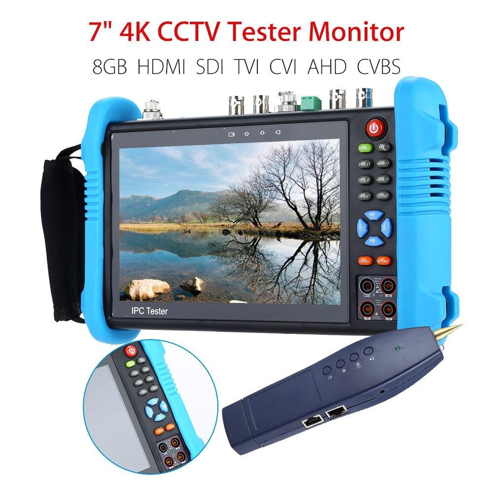 "SEESII 7"" 4K CCTV IP Tester Monitor 8GB SDI TVI CVI AHD CVBS Security Camera Multimeter PTZ POE Test WIFI HDMI Video Onvif INPUT"