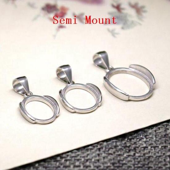 925 Sterling Silver Semi Mount Pendant Fine Silver White Gold Color Women Oval Cabochon 11x15mm/10x14mm/12x17mm/13x18mm
