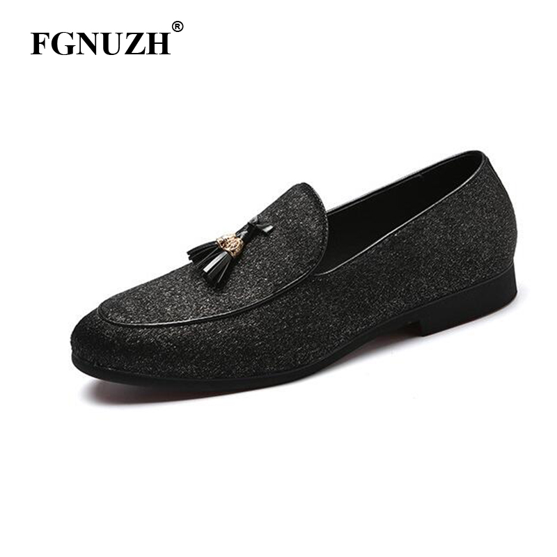 FGNUZH Tassel Shoes Men Loafers Formal Flats Dress Casual Footwear Party Work Office Designer Shoes Men plus size ST385(China)