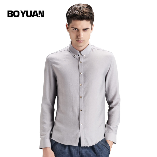 BOYUAN Mens Shirts Long Sleeve High Quality Mans Shirt Camisas Para Hombre Chemise Homme Marque Luxe 2017 New Shirt Solid 1610