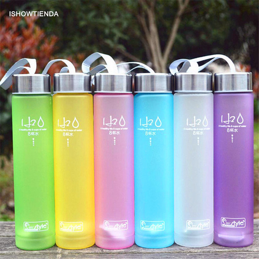 ISHOWTIENDA 2018 New 1PC 20.5*4.6cm Portable Bike Sports Unbreakable 280ml Plastic Water Bottle Cycling Camping Drop Shipping
