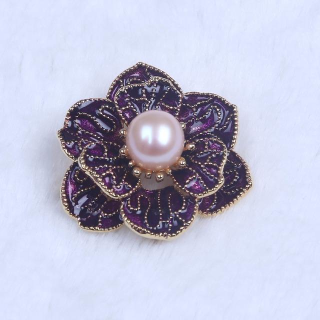 Natural de água doce pérola broche em forma de flor broche jóias para as vossas mães/amigos/meninas/se