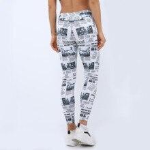 2019 new sale newspaper digital print high waist Hips Abdomen outdoor sports running itness  pants women