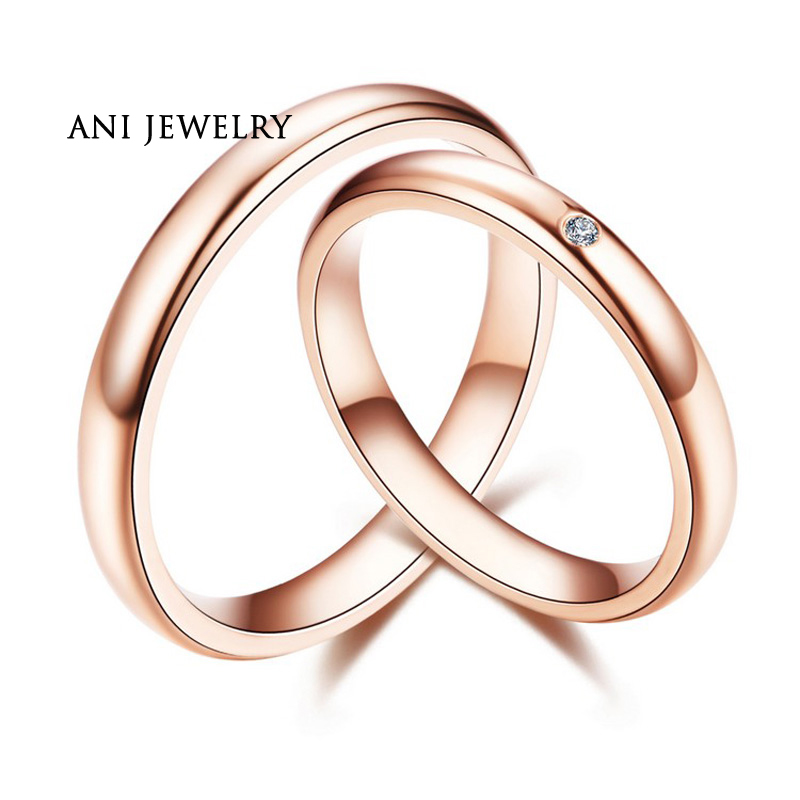 ANI 18K Rose Gold (AU750) Engagement Rings Natural Certified I-J/SI 0.01 CT Round Cut Diamond Wedding Band Couple Ring for Lover ani 18k white gold au750 wedding ring 0 50 ct certified i si natural solitaire round cut diamond jewelry twisted bridal rings
