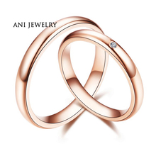 ANI 18K Rose Gold (AU750) Engagement Rings Natural Certified I-J/SI 0.1 CT Round Cut Diamond Wedding Band Couple Ring for Lover ani 18k white gold au750 engagement ring 0 3 ct certified i si round natural diamond ring women fine jewelry for bride wedding