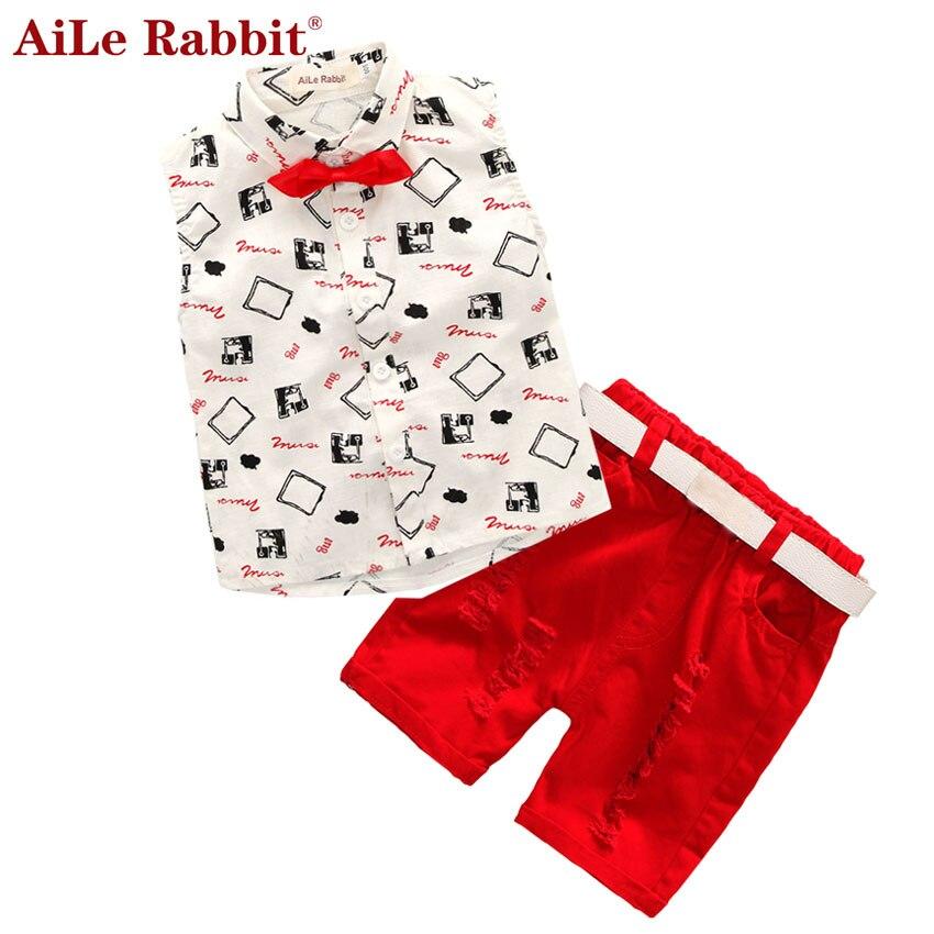 Hot sale! 2016 Summer style Children clothing sets Baby boys girls t shirts+shorts+belt 3pcs pants sports suit kids clothes
