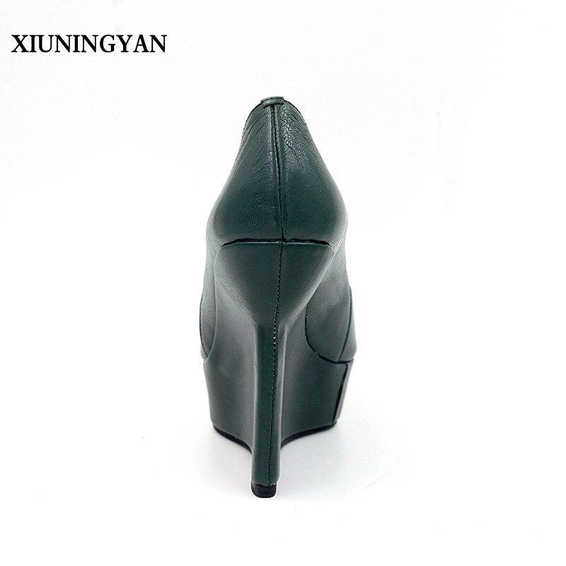 2018 Xiuningyan Negro Bombas Plataforma Cuero Zapatos Mujer Sandalias Green Tacones Auténtico dark Mujeres Primavera Altos Toe Peep Cuña Nuevo RqazrRw