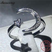 Choucong Moon Star Jewelry 100 Real Soild 925 Sterling Silver Ring AAAAA Zircon Engagement Wedding Band