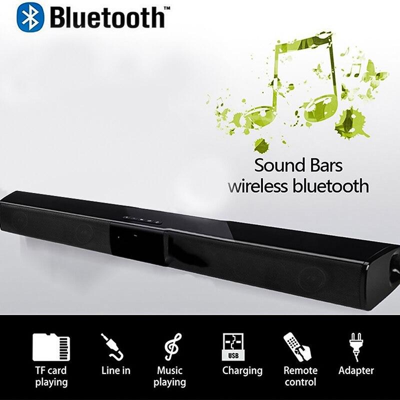Mode bluetooth sans fil Soundbar haut-parleur stéréo TV Home Cinéma TF USB Son Bar Noir