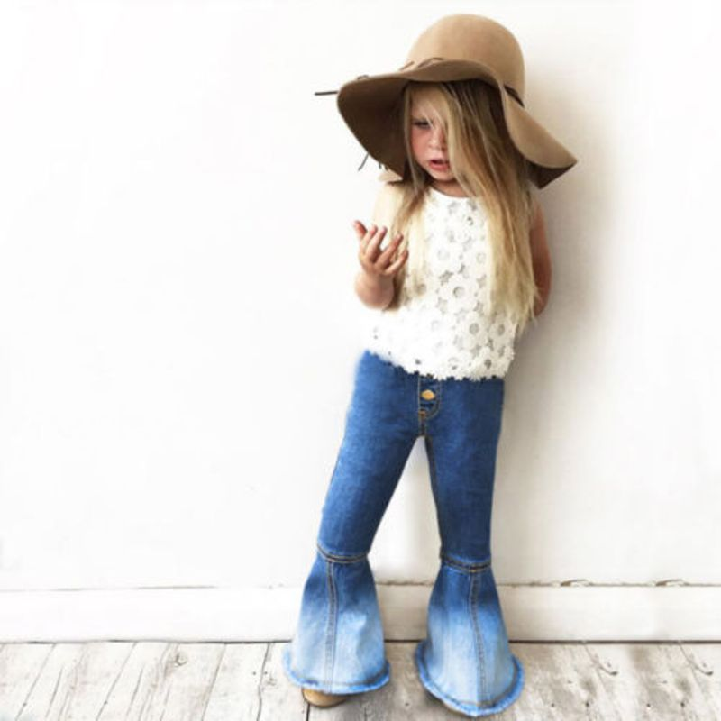 Toddler Baby Kids Girls Denim Bell Bottom Pants Jeans Wide Leg Trousers 2-7Yrs 2017 new plus size clothing spring bell bottom jeans female lengthen boot cut mid waist big horn denim trousers