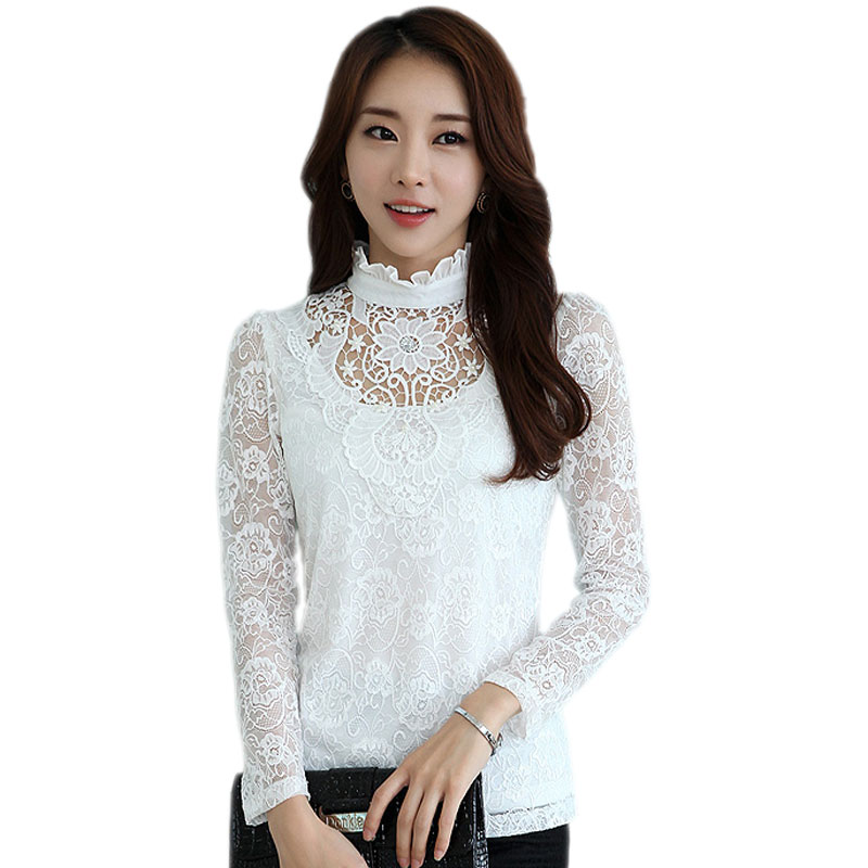 Plus Size XXL 2017 Spring Hollow White Lace Blouse Tops Women Vintage Printed High Collar Long Sleeve Black Shirts - Just Buy Me store