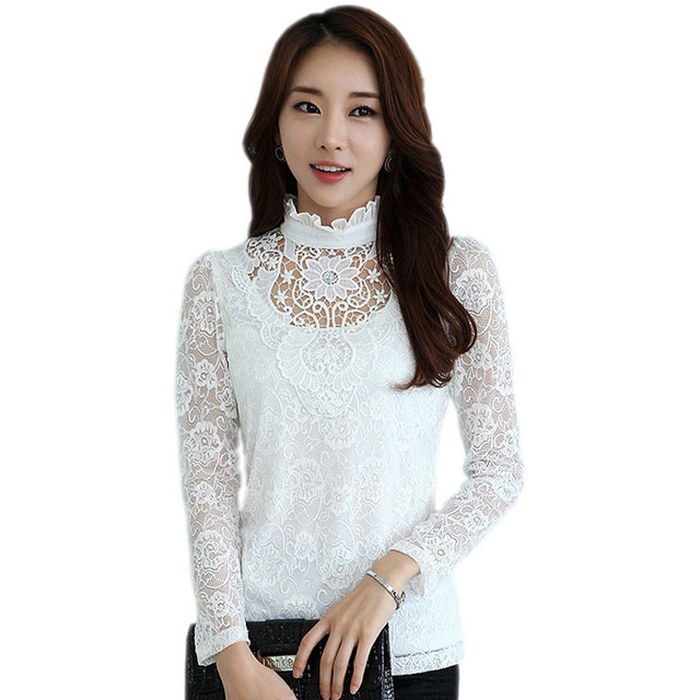 0036fc5d Plus Size XXL 2017 Spring Hollow Out White Lace Blouse Tops Women Vintage Printed  Tops High