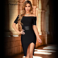Ocstrade Bandage Dresses 2017 New Arrivals Women Sexy Split Balck Bandage Dress with Leather Belt Wholesale HL