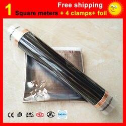 1 квадратный метр нагревательная пленка для пола + 4 зажима + алюминиевая фольга, AC220V инфракрасная нагревательная пленка 50 см x 2 м электрическ...