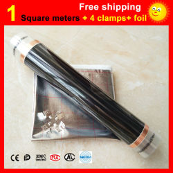 1 Square meter floor Heating film + 4 Clamps + Aluminum foil, AC220V infrared heating film 50cm x 2m electric heater for room