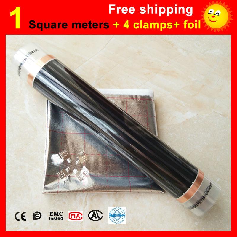 1 mètre Carré Chauffage Par Le sol film + 4 Pinces + En Aluminium feuille, AC220V infrarouge chauffage film 50 cm x 2 m électrique chauffe-pour la chambre