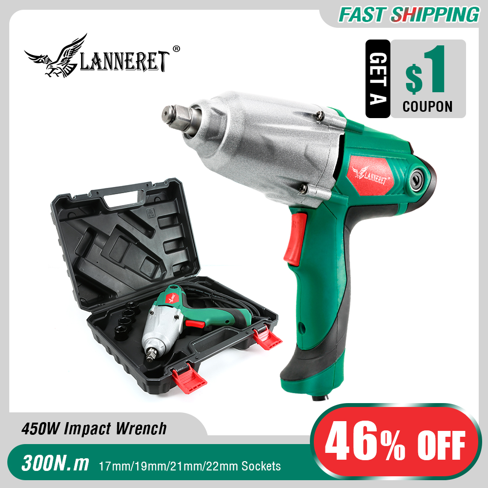 LANNERET 450W 300Nm Max Torque 1 2 inch Car Socket Electric Impact Wrench DIY Household Electric
