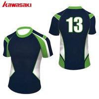 كاواساكي prefossional مخصص الرجال النساء الرياضة فريق الرجبي أعلى القمصان الطباعة قماش مصعد تنفس الرجبي جيرسي