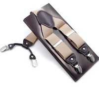 4 Clips Fashion Mens Leather Suspenders Straps Trousers Braces Elastic Y Back Adjustable Suspenders For Wedding