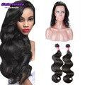360 lace frontal closure with bundles malaysian virgin Hair Body curly 2 bundles with 360 Lace frontal closure ms lula hair