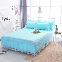 1pcs Lace Bed Skirt 2pcs Pillowcases blue bedding set Princess Bedspreads sheet Bed Girls bed Cover Twin full King queen size