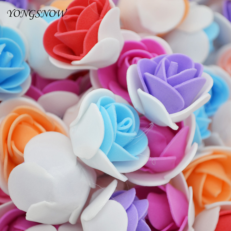 50Pcs Mini PE Foam Flowers Artificial Rose Flower 3.5cm Flower Head Handmade DIY Wreath Wedding Party Decoration Home Garden 7Z